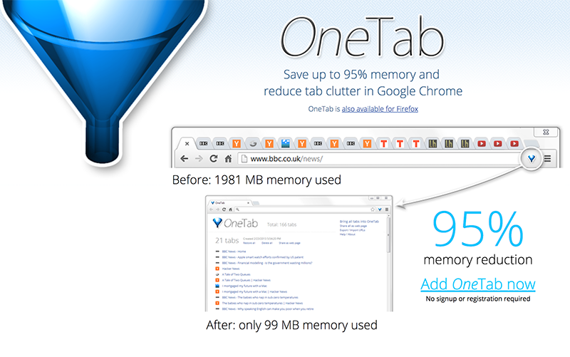 phractl | OneTab: Save Memory and Reduce Tab Clutter in Chrome and